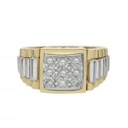 0.30 Carat Round Cut Diamonds Mens Ring 14K Two Tone Gold
