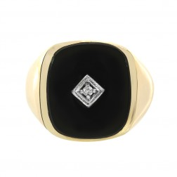 0.02 Carat Diamond Accent Black Onyx Man's Ring 14K Yellow Gold