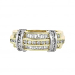 1.15 Carat Round And Baguette Cut Diamonds Men's Ring 14K Two Tone Gold