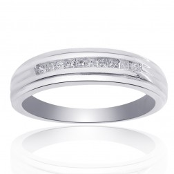 0.25 Carat Diamond Men's Wedding Band 14K White Gold Ring