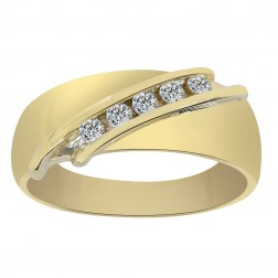 0.20 Carat Diamond Men's Wedding Band 14K Yellow Gold Ring