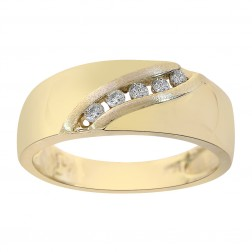 0.15 Carat Diamond Men's Wedding Band 14K Yellow Gold Ring