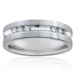 0.55 Carat Mens Round Cut Diamond Wedding Band 14k White Gold