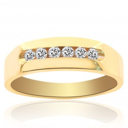0.30 Carat Mens Round Cut Diamond Wedding Band 14K Yellow Gold