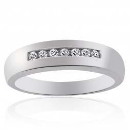 0.20 Carat Mens Round Cut Diamond Wedding Band 14K White Gold