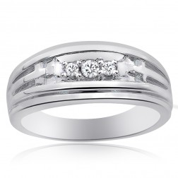 0.15 Carat Mens Round Cut Diamond Wedding Band 14K White Gold