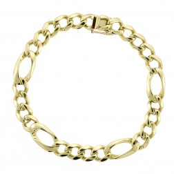9.8mm 14K Yellow Gold Classic Figaro Link Chain Bracelet