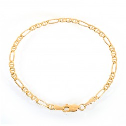 3.2mm 14K Yellow Gold Figarucci Link Chain Bracelet Italy