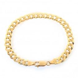 8.2mm 14k Yellow Gold Cuban Link Curb Diamond Cut Chain Bracelet Italy