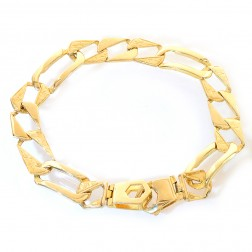 11.3mm 14K Yellow Gold Sleeve Figaro Chain Bracelet