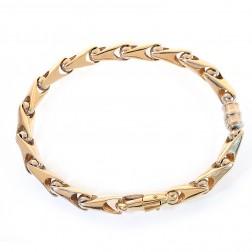 6.5mm 14K Yellow Gold Fancy Link Chain Bracelet