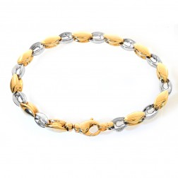6.5mm 14K Two Tone Gold Oval Shaped Fancy Link Chain Bracelet Italy