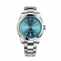 Rolex Milgauss Stainless Steel Watch Z-Blue Dial Green Crystal 116400GV
