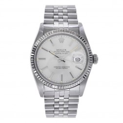 Rolex Datejust 36 Stainless Steel & 18K White Gold Watch Silver Index Dial 16234