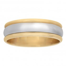 7.3mm 14K Two Tone Gold Men's Wedding Band