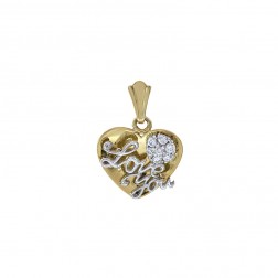 0.25 Carat Cubic Zirconia 'Love You' Heart Pendant 14K Two Tone Gold