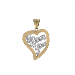 0.10 Carat Diamond Accent 'I Love You' Heart Pendant 14K Yellow Gold
