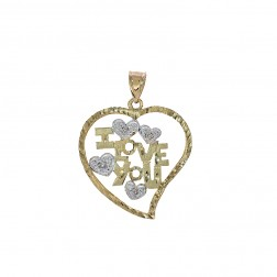0.04 Carat Diamond Accent 'I Love You' Heart Pendant 14K Yellow Gold