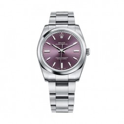Rolex Oyster Perpetual 39 Stainless Steel Watch Red Grape Dial 114300