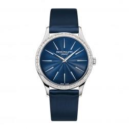 Patek Philippe Ladies Calatrava 18K White Gold Watch Diamond Bezel 4897/300G