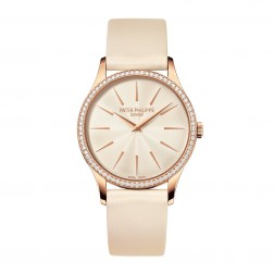 Patek Philippe Ladies Calatrava 18K Rose Gold Watch Cream Dial Diamond Bezel 4897R/010