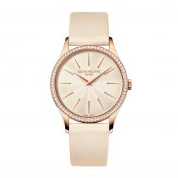 Patek Philippe Ladies Calatrava 18K Rose Gold Watch Cream Dial Diamond Bezel 4897R/010
