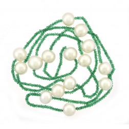 12mm Pearl & Natural Emerald Necklace