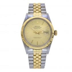 Rolex Datejust 36 Stainless Steel & 18K Yellow Gold Watch Champagne Dial 16233