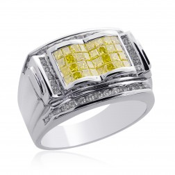 1.65 Carat Mens Princess Cut Yellow Fancy Diamond Ring 14K White Gold