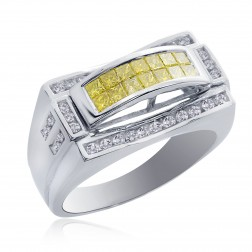 1.25 Carat Mens Princess Cut Yellow and White Diamond Ring 14K White Gold