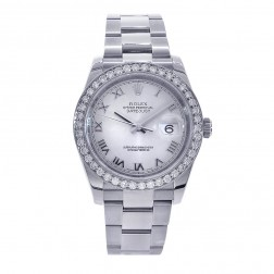 Rolex Datejust 36 Stainless Steel Watch White Roman Dial/Custom Diamond Bezel 116200