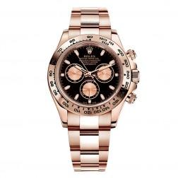 Rolex Daytona 18K Everose Gold Watch Black Dial 116505