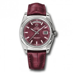 Rolex Day-Date 36 18K White Gold Cherry Dial Leather Strap 118139
