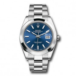Rolex Datejust 41 Stainless Steel Watch Oyster Bracelet Blue Stick Dial 126300