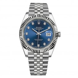 Rolex Datejust 41 Steel & 18K White Gold Watch Blue Diamond Dial 126334