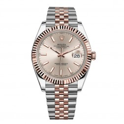 Rolex Datejust 41 Steel & 18K Everose Gold Watch Jubilee Bracelet Sundust Index Dial 126331