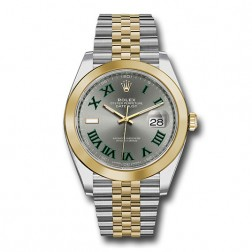 Rolex Datejust 41 Steel & 18K Yellow Gold Watch Grey Wimbledon Jubilee 126303