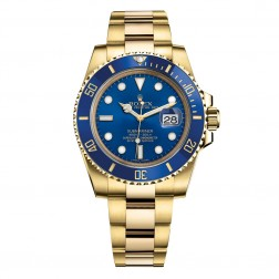 Rolex Submariner Date 18K Yellow Gold Watch Blue Ceramic Bezel 116618LB
