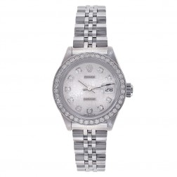 Rolex Ladies Datejust 26 Stainless Steel Watch Custom Diamond Bezel Jubilee Dial 179174