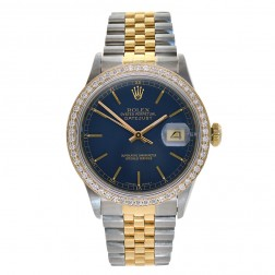 Rolex Datejust 36 Steel & 18K Yellow Gold Watch Custom Diamond Bezel 16233