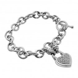 0.25 Carat Round Diamond Heart Charm Bracelet in Sterling Silver