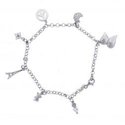 """Sterling Silver Ankle Bracelet With Seven Charms 10"""""""