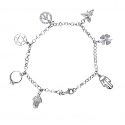 Sterling Silver Ankle Bracelet With Seven Charms 10""