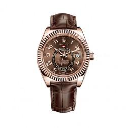 Rolex Sky-Dweller 18K Rose Gold Watch Leather Strap 326135