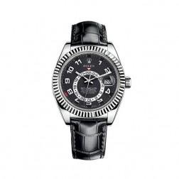 Rolex Sky-Dweller 18K White Gold Watch Leather Strap 326139
