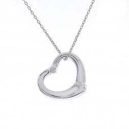 Genuine Tiffany & Co. Else Peretti Round Diamond Heart Pendant on Cable Link Chain Sterling Silver