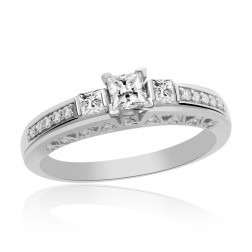 0.75 Carat G-VS1 Natural Princess Cut Diamond Engagement Ring 14K White Gold