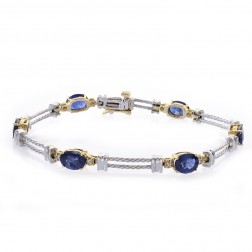 6.08 Carat Oval Cut Sapphire & Round Diamond Bracelet 14k Two Tone Gold