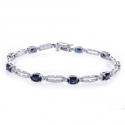4.70 Carat Oval Shape Sapphire & Round Diamond Tennis Bracelet 14k White Gold