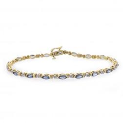 3.60 Carat Marquise Cut Sapphires & Round Cut Diamond Bracelet 14K Yellow Gold